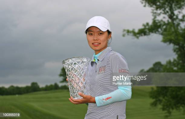 Sun Young Yoo of South Korea holds the championship trophy after winning the Sybase Match Play Championship at Hamilton Farm Golf Club on May 23 2010...