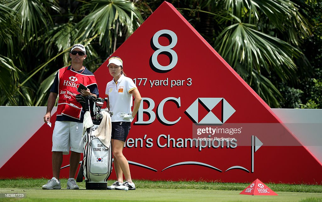 Sun Young Yoo of South Korea in action during the second round of the HSBC Women's Champions at the Sentosa Golf Club on March 1, 2013 in Singapore, Singapore.