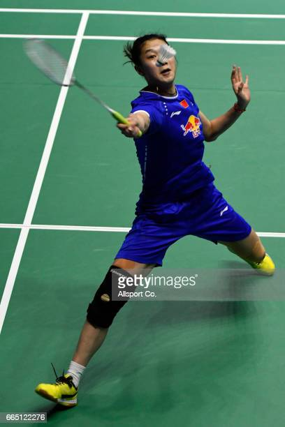 Sun Yu of Chian plays a return shot to Beiwen Zhang of the United States in the women's singles during the round two of the 2017 World BWF Super...