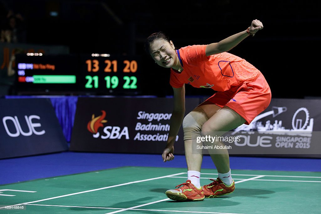 Sun Yu of China reacts after defeating <a gi-track='captionPersonalityLinkClicked' href=/galleries/search?phrase=Tai+Tzu+Ying&family=editorial&specificpeople=7058950 ng-click='$event.stopPropagation()'>Tai Tzu Ying</a> of Chinese Taipei during the women's single final of the 2015 Singapore Open at Singapore Indoor Stadium on April 12, 2015 in Singapore.