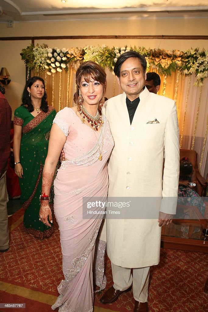 Sunanda Pushkar Tharoor and Shashi Tharoor during their wedding reception at India Habitat Centre on September 5, 2010 in New Delhi, India. Sunanda Pushkar, the 52-year-old industrialist wife of Union HRD minister Shashi Tharoor was found dead on Friday at a seven-star hotel where the couple had checked in together a day earlier, the police said. News of her death emerged late in the evening, coming within two days of her Twitter spat with a Pakistani journalist, Mehr Tarar, over an alleged affair with the minister. Pushkar, who has business interests in Dubai and was the Congress minister's third wife, was found dead in the bedroom of The Leela Palace suite number 345 around 8.15pm. Mehr Tarar, a columnist with Pakistan's Daily Times, reacted to the news of Pushkar's death in two consecutive tweets: What the hell. Sunanda. Oh my God and I just woke up and read this. Im absolutely shocked. This is too awful for words. So tragic I dont know what to say. Rest in peace, Sunanda.