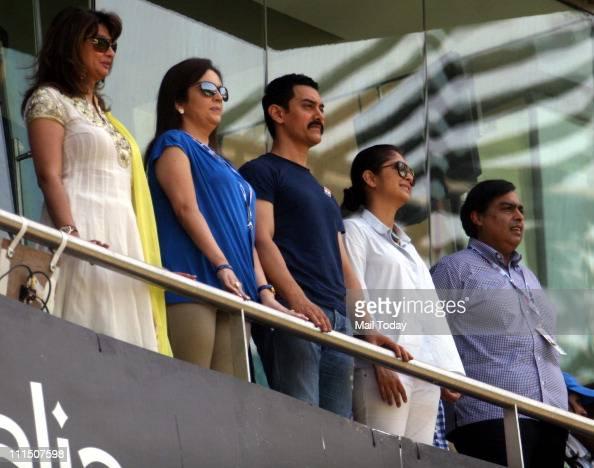 Sunanda PushkarNita Ambani Aamir Khan Kiran Rao and Mukesh Ambani during the ICC Cricket World Cup final between India and Sri Lanka at Wankhede...