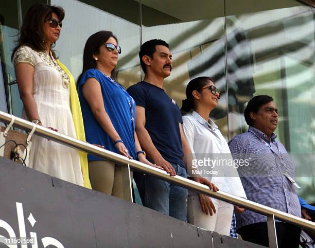 Sunanda PushkarNita Ambani Aamir Khan Kiran Rao and Mukesh Ambani during the ICC Cricket World Cup final between India and Sri Lanka at Wankhede...