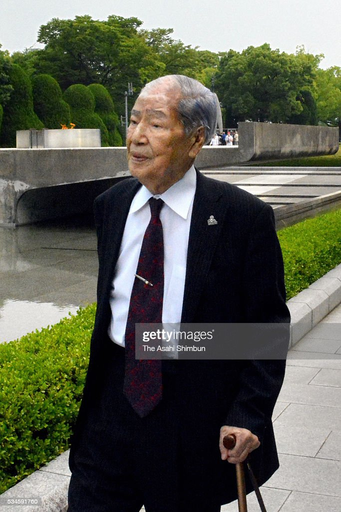 Sunao Tsuboi, A-bomb suvivor and the chairman of the Nihon Hidankyo, Japan Confederation of A- and H-Bomb Sufferers Organizations, is seen on arrival ahead of the U.S. President Barack Obama at the Hiroshima Peace Memorial Park on May 27, 2016 in Hiroshima, Japan. Obama becomes the first sitting U.S. president to visit Hiroshima, where the first atomic bomb was dropped in 1945 at the end of World War II.