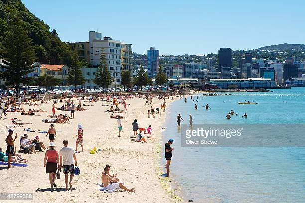 Sunbathers and swimmers at Oriental Bay.