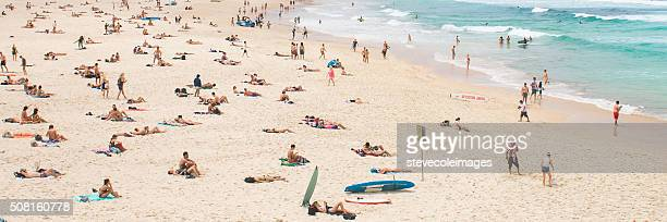 Sunbathers at Bondi Beach, Australia.