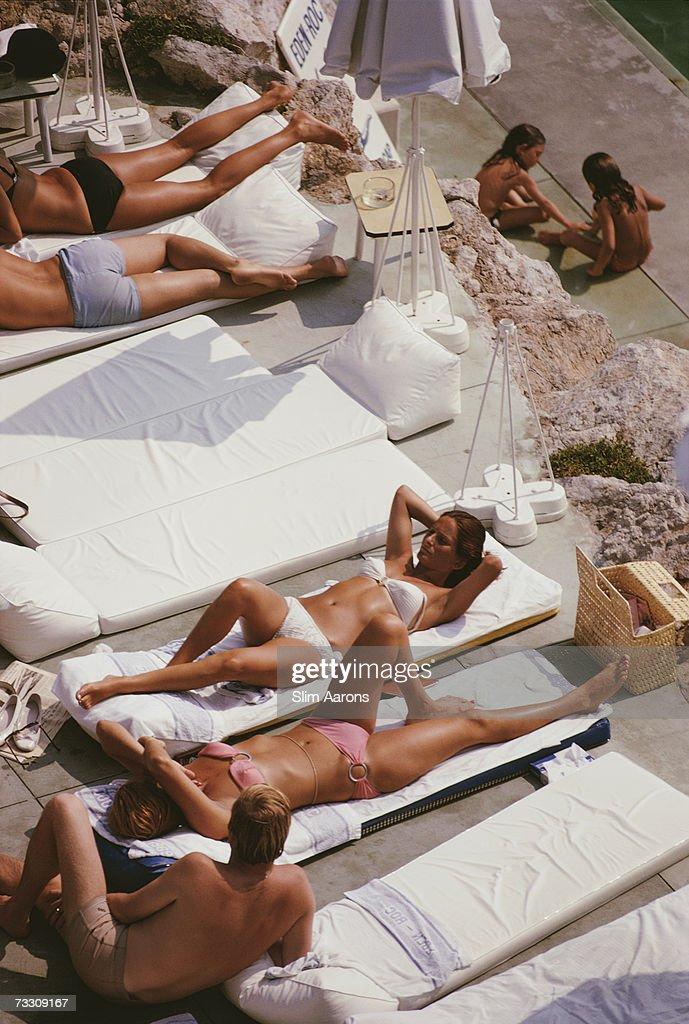 Sunbathers at the Hotel du Cap EdenRoc Antibes France August 1969