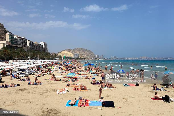 Sunbathers on the beach at Alicante City