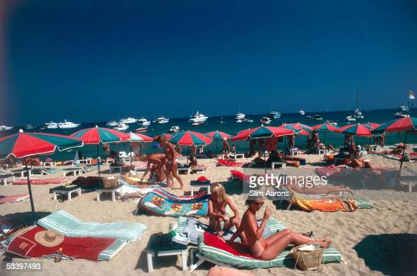 Sunbathers on the beach at St Tropez France 1977