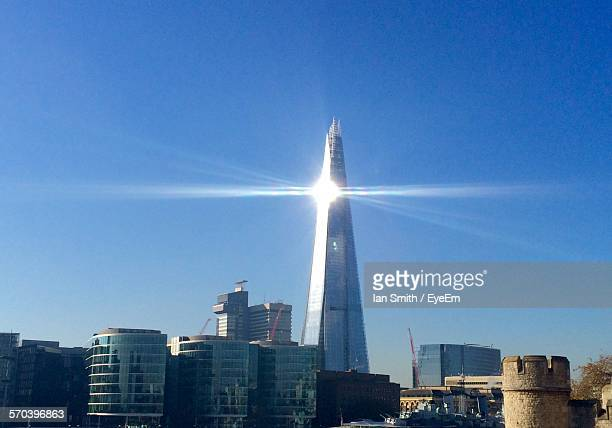 Sunbeam Emitting Through Shard London Bridge In City Against Clear Sky