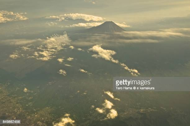 Sunbeam on Mt. Fuji in Yamanashi prefecture sunset time aerial view from airplane