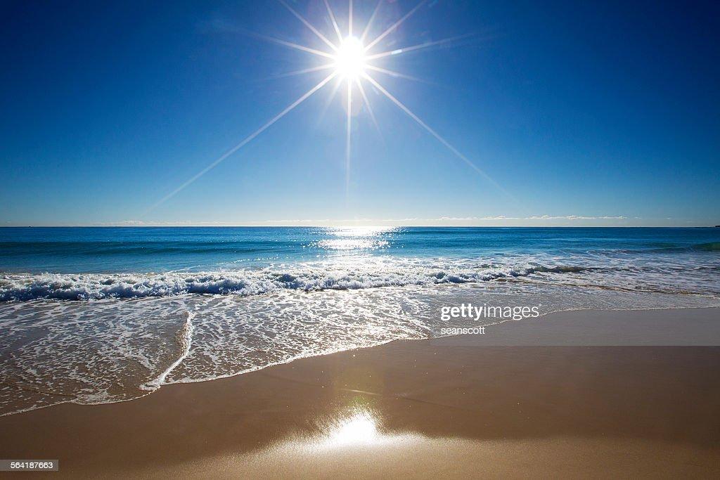 Sunbeam over the sea on Gold Coast, Queensland, Australia