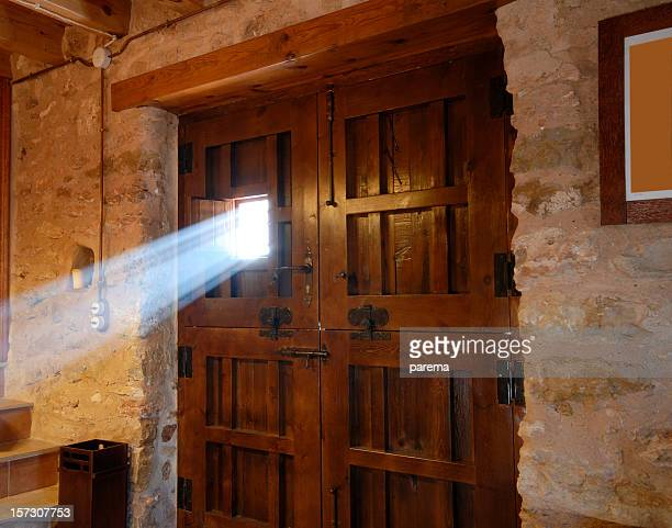 Sunbeam passing through a door window