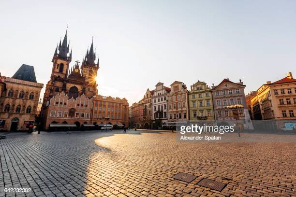 Sunbeam shining through the towers of Tyn Church at the Old Town Square, Prague, Czech Republic