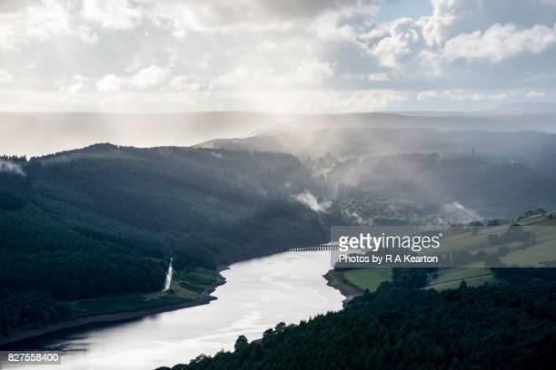 Sunbeams and rain over Ladybower reservoir, Peak District, Derbyshire