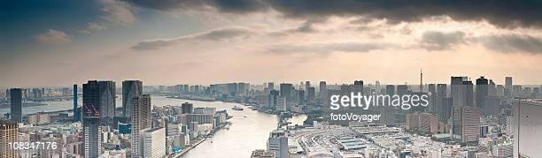 Sunbeams and skyscrapers Sumida-gawa Tokyo Bay downtown waterfront panorama Japan