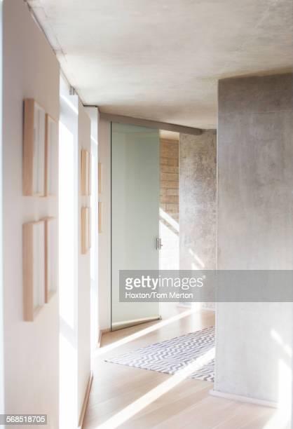 Sunbeams in modern corridor and foyer