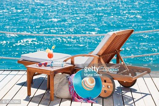 Sunbed on the pier : Foto de stock