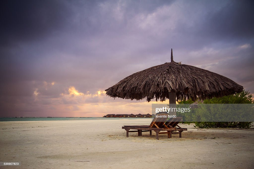 Sunbeds on tropical beach at maldives : Foto de stock