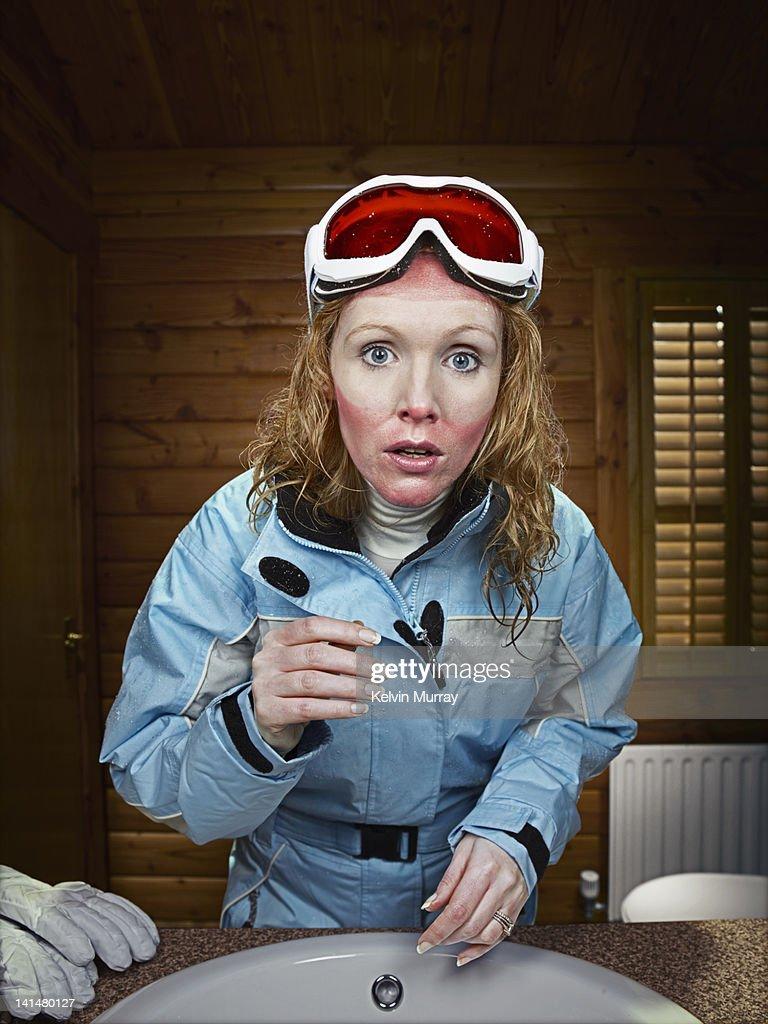 Sunburn Ski Mum : Stock Photo