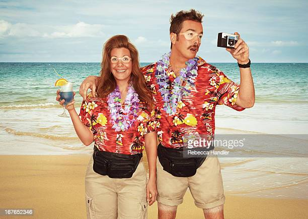 A sunburnt couple of tourists at the beach