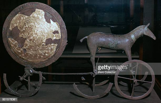 Sunchariot from Trundholm Bog in north west Zealand Denmark It is made of bronze and gold leaf and is the best evidence for sun worship in the early...