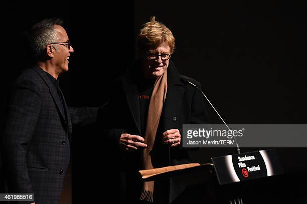 Sundance Film Festival director John Cooper and President and founder of the Sundance Institute Robert Redford speak on stage at Netflix's 'What...