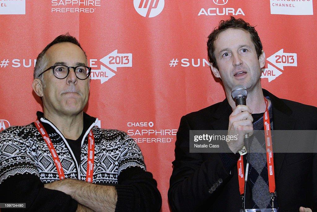 Sundance Film Festival Director John Cooper (L) and Sundance Film Festival Director of Programming Trevor Groth speak onstage during the World Welcome Brunch at New Frontier on January 18, 2013 in Park City, Utah.