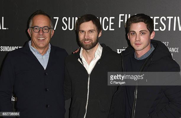 Sundance Film Festival Director John Cooper director Shawn Christensen and actor Logan Lerman attend the 'Sidney Hall' Premiere during 2017 Sundance...