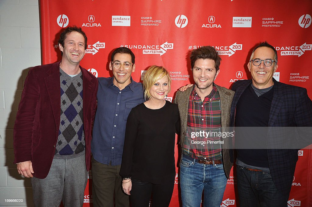 Sundance Film Festival Director of Programming Trevor Groth, Director Stu Zicherman, actors Amy Poehler and Adam Scott and Sundance Film Festival John Cooper attend the 'A.C.O.D' Premiere during the 2013 Sundance Film Festival at Eccles Center Theatre on January 23, 2013 in Park City, Utah.
