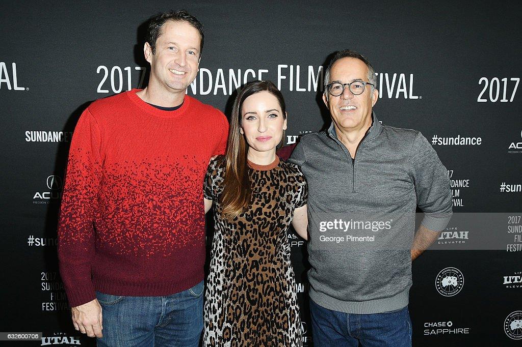 Sundance Film Festival Director of Programming Trevor Groth, film maker Zoe Lister-Jones, and Sundance Film Festival Director John Cooper attend the 'Band Aid' Premiere at Eccles Center Theatre on January 24, 2017 in Park City, Utah.