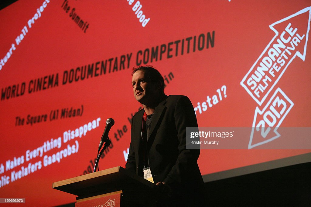 Sundance Film Festival Director of Programming <a gi-track='captionPersonalityLinkClicked' href=/galleries/search?phrase=Trevor+Groth&family=editorial&specificpeople=561179 ng-click='$event.stopPropagation()'>Trevor Groth</a> speaks during 'The Summit' Premiere at Egyptian Theatre during the 2013 Sundance Film Festival on January 18, 2013 in Park City, Utah.