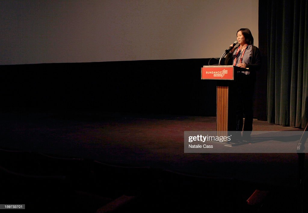 Sundance Film Festival programmer Kim Yutani speaks during the 'What They Talk About When They Talk About Love' premiere at Prospector Square during the 2013 Sundance Film Festival on January 19, 2013 in Park City, Utah.