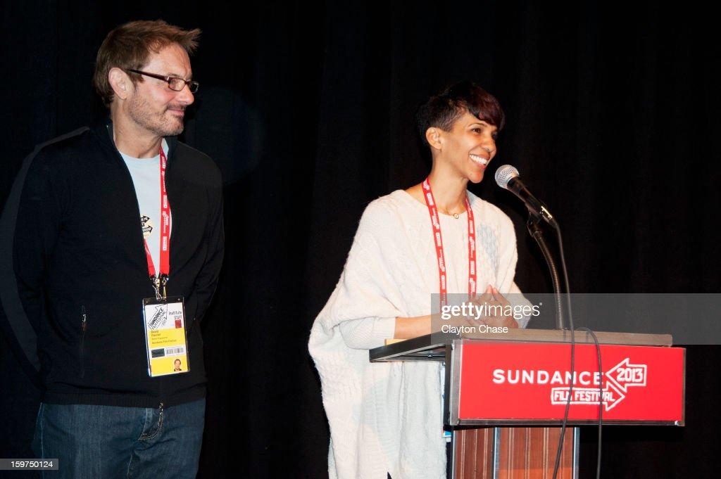 Sundance Film Festival Senior Programmer David Courier and director Marta Cunningham speak onstage during the 'Valentine Road' premiere at Temple Theater during the 2013 Sundance Film Festival on January 19, 2013 in Park City, Utah.