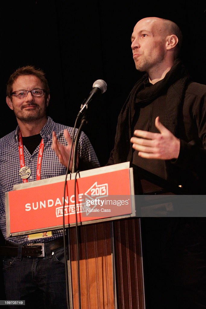 Sundance Film Festival Senior Programmer David Courier and filmmaker/journalist Richard Rowley speak onstage at the 'Dirty Wars' Premiere during the 2013 Sundance Film Festival at Eccles Center Theatre on January 18, 2013 in Park City, Utah.