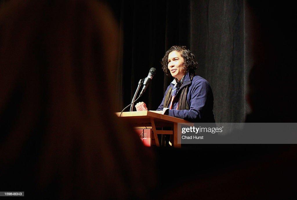 Sundance Film Festival Senior Programmer Shari Frilot speaks during the 'Gideon's Army' premiere at Library Center Theater during the 2013 Sundance Film Festival on January 21, 2013 in Park City, Utah.
