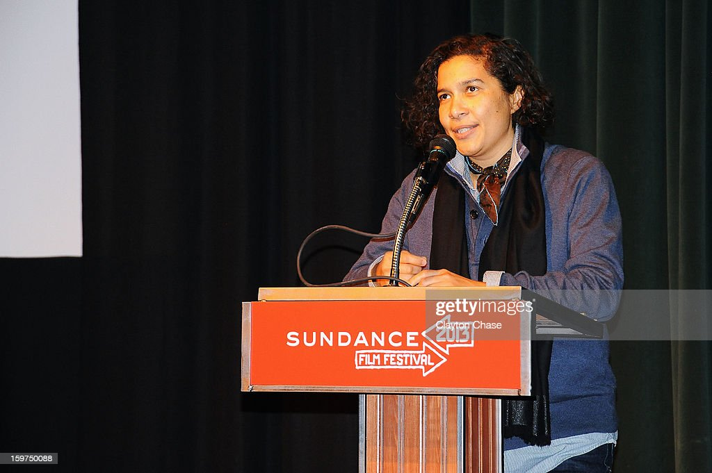 Sundance Film Festival Senior Programmer Shari Frilot speaks onstage during the 'Inequality For All' premiere at Prospector Square during the 2013 Sundance Film Festival on January 19, 2013 in Park City, Utah.