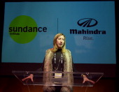 Sundance Institute Executive Director Keri Putnam speaks during the Sundance Institute Mahindra Global Filmmaking Award Reception at The Shop during...