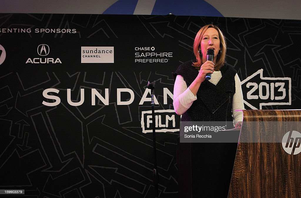 Sundance Institute Executive Director <a gi-track='captionPersonalityLinkClicked' href=/galleries/search?phrase=Keri+Putnam&family=editorial&specificpeople=226879 ng-click='$event.stopPropagation()'>Keri Putnam</a> speaks onstage during the Sundance Institute Mahindra Global Filmmaking Award Reception at Sundance House on January 22, 2013 in Park City, Utah.