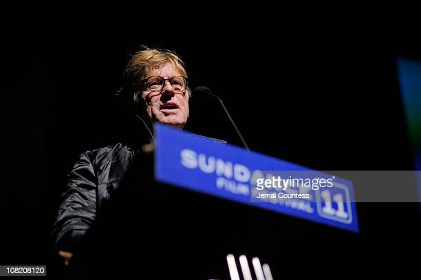 Sundance Institute Founder and President Robert Redford speaks at the 'Sing Your Song' Premiere at the Egyptian Theatre during the 2011 Sundance Film...