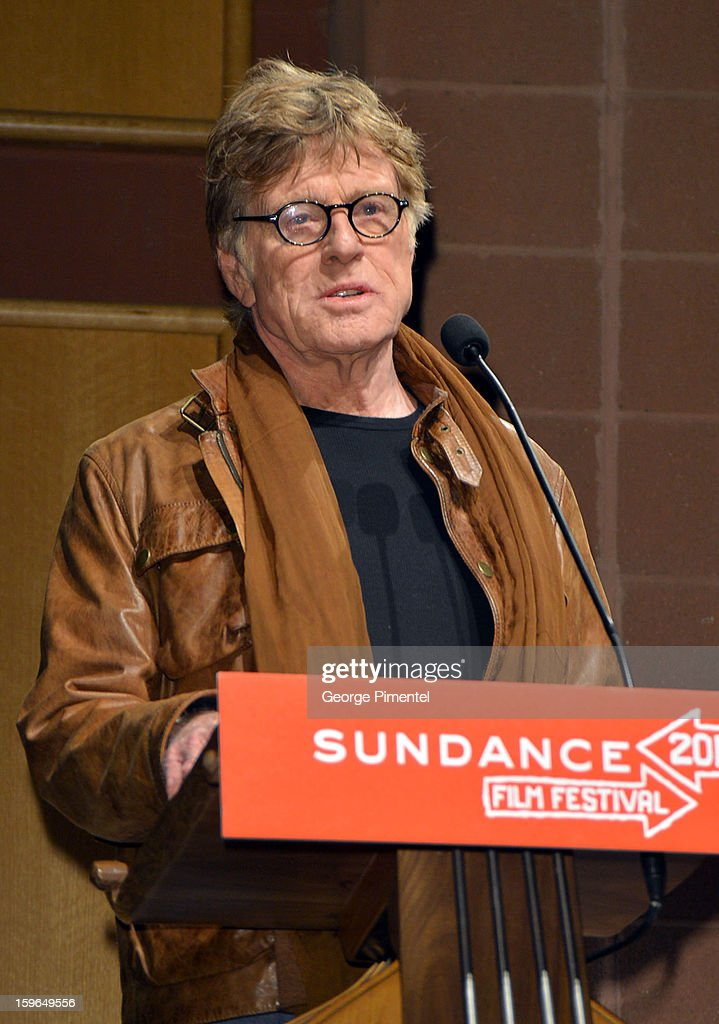 Sundance Institute President and Founder <a gi-track='captionPersonalityLinkClicked' href=/galleries/search?phrase=Robert+Redford&family=editorial&specificpeople=202897 ng-click='$event.stopPropagation()'>Robert Redford</a> speaks onstage at the 'May In The Summer' premiere during the 2013 Sundance Film Festival at Eccles Center Theatre on January 17, 2013 in Park City, Utah.