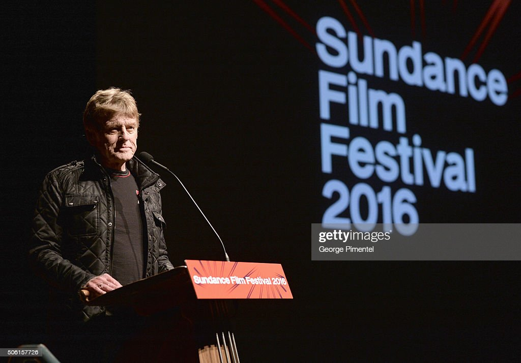 Sundance Institute President and Founder Robert Redford speaks at the 'Norman Lear Just Another Version Of You' Premiere during the 2016 Sundance...