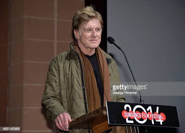 Sundance Institute President and Founder Robert Redford speaks onstage during the premiere of 'Whiplash' at the Eccles Center Theatre during the 2014...