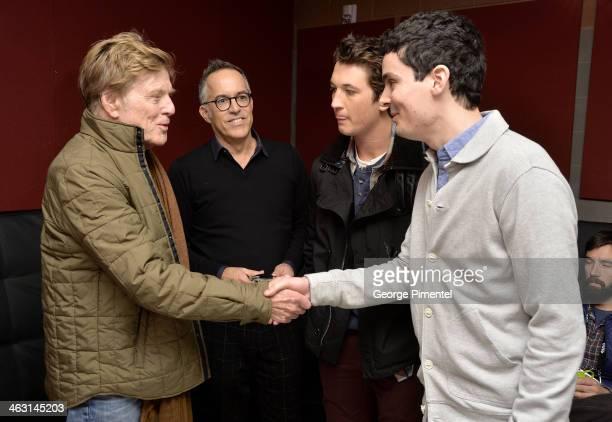Sundance Institute President and Founder Robert Redford Sundance Film Festival Director John Cooper Actor Miles Teller and Filmmaker Damien Chazelle...