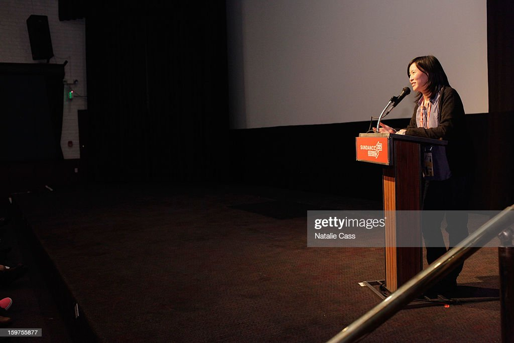 Sundance Programmer Kim Yutani speaks onstage at 'Interior. Leather Bar' premiere during the 2013 Sundance Film Festival at Prospector Square on January 19, 2013 in Park City, Utah.