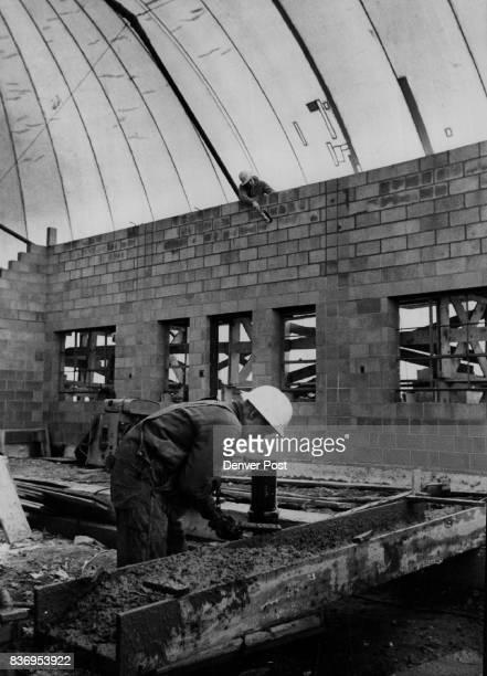Sundance Radar Station bricklayer works on wall of building Credit Denver Post