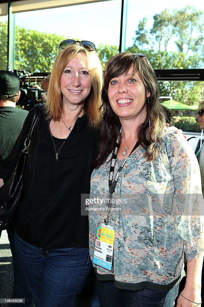 Sundance's Keri Putnam and Outfest Executive Director Kirsten Schaffe at The Sundance Alumni Event At Outfest Festival held at The DGA Theater on July 16, 2012 in Los Angeles, California.