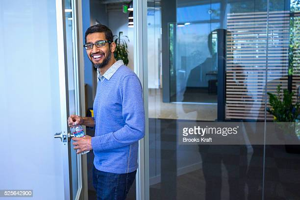 Sundar Pichai CEO of Google in his office at Google Headquarters in Mountain View CA Pichai oversees Android Chrome and Google Apps