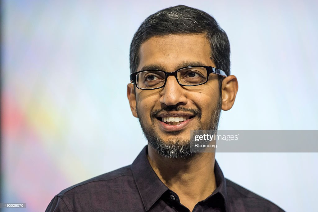 <a gi-track='captionPersonalityLinkClicked' href=/galleries/search?phrase=Sundar+Pichai&family=editorial&specificpeople=7768399 ng-click='$event.stopPropagation()'>Sundar Pichai</a>, chief executive officer of Google Inc., smiles during an event in San Francisco, California, U.S., on Tuesday, Sept. 29, 2015. Google unveiled its newest Nexus smartphones with Huawei and LG Electronics Inc. as it looks to blunt the growth of Apple Inc.'s iPhone. Photographer: David Paul Morris/Bloomberg via Getty Images