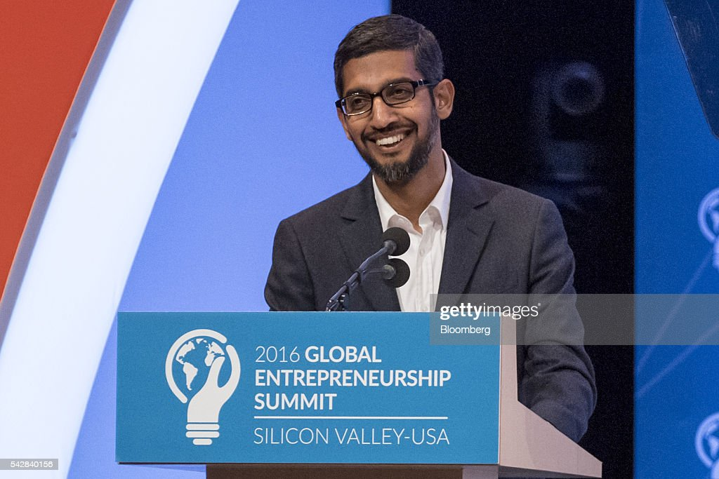 <a gi-track='captionPersonalityLinkClicked' href=/galleries/search?phrase=Sundar+Pichai&family=editorial&specificpeople=7768399 ng-click='$event.stopPropagation()'>Sundar Pichai</a>, chief executive officer of Google Inc., smiles during the 2016 Global Entrepreneurship Summit (GES) at Stanford University in Stanford, California, U.S., on Friday, June 24, 2016. The annual event brings together entrepreneurs from around the world for 3 days of networking, workshops and conferences. Photographer: David Paul Morris/Bloomberg via Getty Images